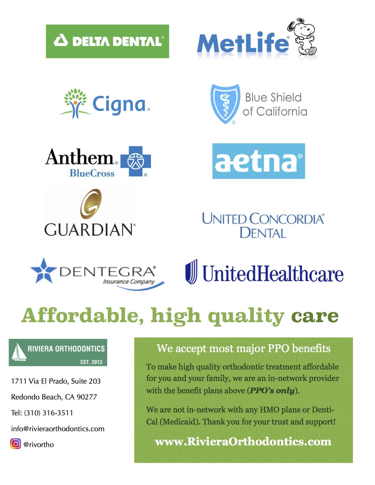 Insurance & Payment Plans Information | Riviera Orthodontics
